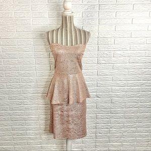 Deb Lightweight Pink Strapless Peplum Dress